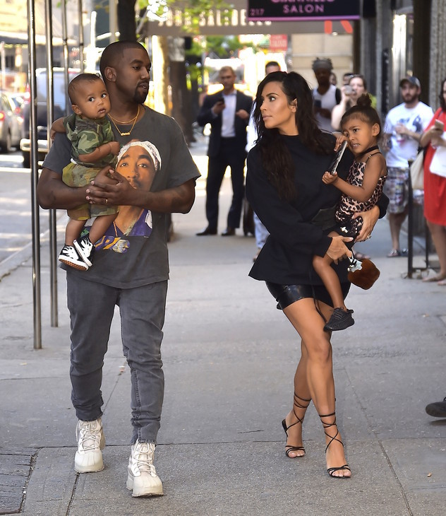 NEW YORK, NY - AUGUST 29:  Kim Kardashian, Kanye West with North West and Saint West are spotted in the Upper East Side  on August 29, 2016 in New York City.  (Photo by Alo Ceballos/GC Images)